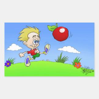 Illustration de bande dessinée d'un garçon donnant sticker rectangulaire