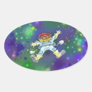 Illustration de bande dessinée, d'un gnome de sticker ovale