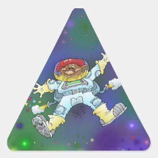 Illustration de bande dessinée, d'un gnome de sticker triangulaire