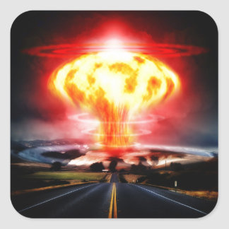Illustration de champignon atomique d'explosion autocollant carré