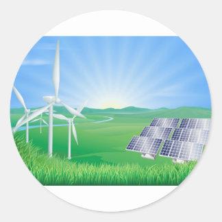 Illustration d'énergie renouvelable adhésif rond