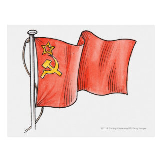Illustration der sowjetischen Flagge Postkarte