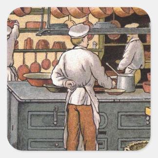 Illustration française vintage de cuisine stickers carrés