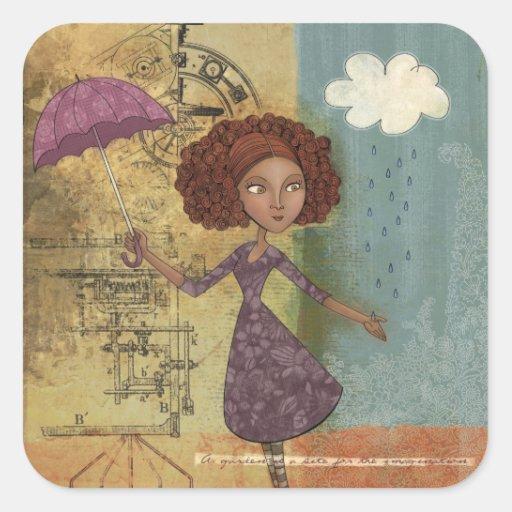 Illustration lunatique de jardin de fille de stickers carrés