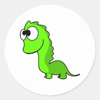 Illustration mignonne d'animation de dinosaure autocollant rond