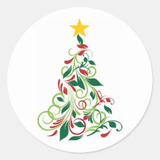 Illustration moderne élégante d'arbre de Noël Autocollants Ronds