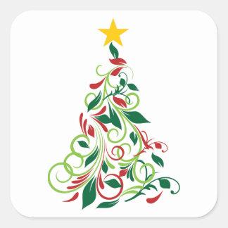 Illustration moderne élégante d'arbre de Noël Autocollant Carré