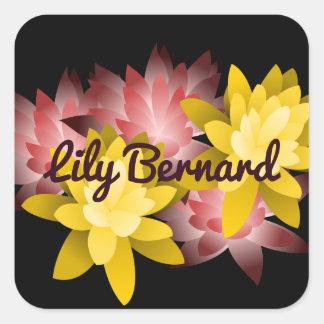 Illustration nommée personnalisable de Lotus Sticker Carré