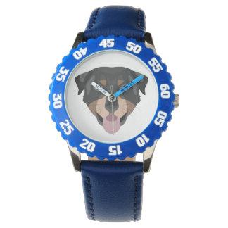 Illustration verfolgt Gesicht Rottweiler Armbanduhr