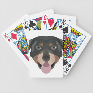 Illustration verfolgt Gesicht Rottweiler Bicycle Spielkarten