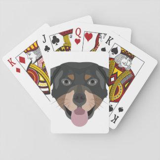 Illustration verfolgt Gesicht Rottweiler Spielkarten