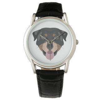 Illustration verfolgt Gesicht Rottweiler Uhr