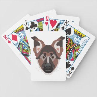 Illustration verfolgt Gesicht Schäferhund Bicycle Spielkarten