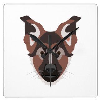 Illustration verfolgt Gesicht Schäferhund Quadratische Wanduhr