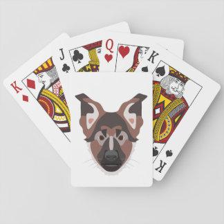 Illustration verfolgt Gesicht Schäferhund Spielkarten