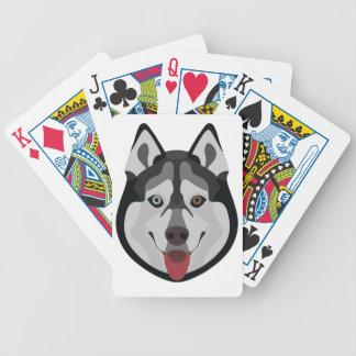 Illustration verfolgt Gesicht sibirischen Husky Bicycle Spielkarten