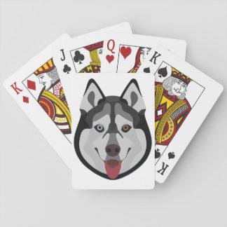 Illustration verfolgt Gesicht sibirischen Husky Spielkarten