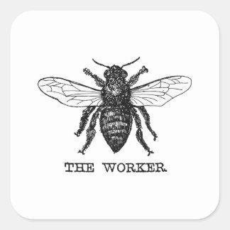 Illustration vintage d'abeille de travailleur sticker carré
