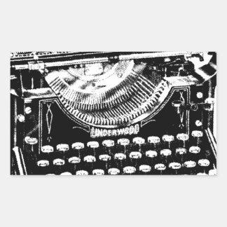 Illustration vintage de machine à écrire sticker rectangulaire