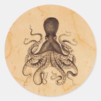 Illustration vintage de poulpe dans les bruns adhésif rond