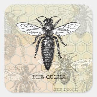 Illustration vintage de reine des abeilles sticker carré