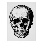 Illustration vintage noire et blanche de crâne posters