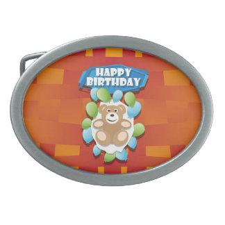Illustrations-alles- Gute zum GeburtstagTeddybär Ovale Gürtelschnallen
