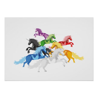 Illustrations-bunte wilde Einhörner Poster