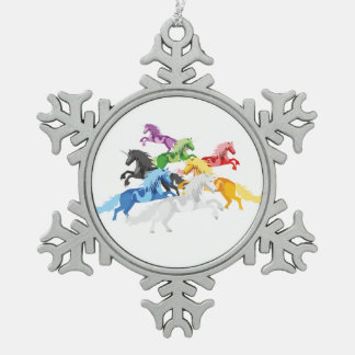 Illustrations-bunte wilde Einhörner Schneeflocken Zinn-Ornament