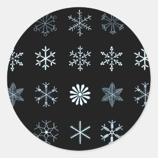 Illustrations des flocons de neige adhésif rond