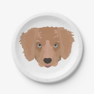 Illustrations-golden retriever-Welpe Pappteller