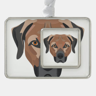 Illustrations-Hund Brown Labrador Rahmen-Ornament Silber