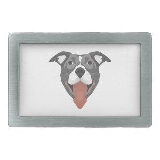Illustrations-Hund lächelndes Pitbull Rechteckige Gürtelschnallen