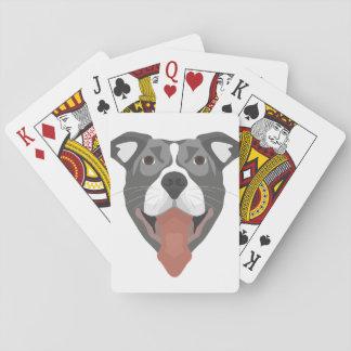 Illustrations-Hund lächelndes Pitbull Spielkarten