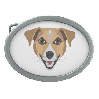 Illustrations-Hund lächelndes Terrier Ovale Gürtelschnallen