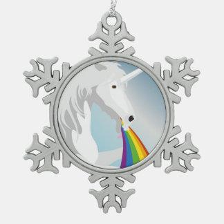 Illustrations-kotzende Einhörner Schneeflocken Zinn-Ornament