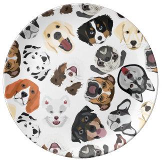 Illustrations-Muster-Hunde Porzellanteller