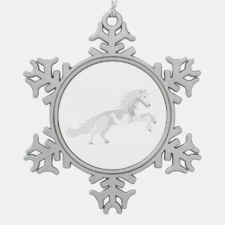 Illustrations-Weiß-Einhorn Schneeflocken Zinn-Ornament
