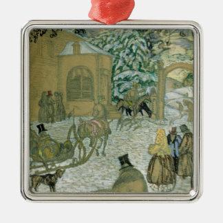 """Illustraton für """"Dubrovsky"""", durch Alexander Quadratisches Silberfarbenes Ornament"""