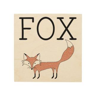 Illustrierte Fox-Holz-Leinwand Holzwanddeko