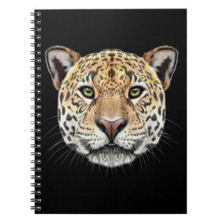 Illustriertes Porträt des Jaguars Spiral Notizblock
