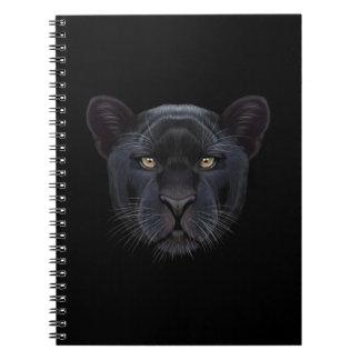 Illustriertes Porträt des schwarzen Panthers Spiral Notizblock