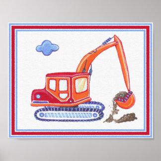Im Bau Bagger-Kinderzimmer-Kunst-Druck Poster