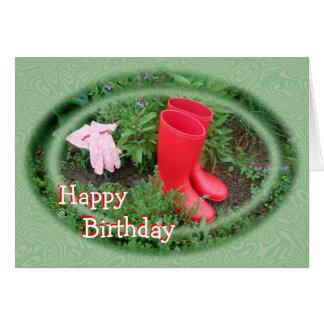 Im Garten arbeitenrot lädt Geburtstag oder jede Karte