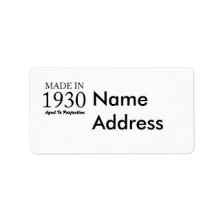 Im Jahre 1930 gemacht Adressaufkleber