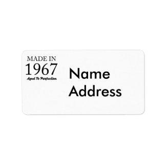 Im Jahre 1967 gemacht Adressaufkleber