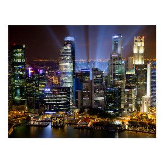Im Stadtzentrum gelegene Singapur-Stadt nachts Postkarte