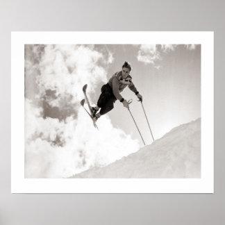 Image vintage de ski, tours sur des skis