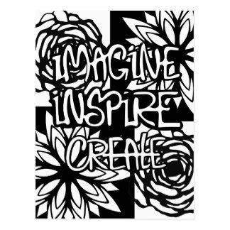 Imagine inspirieren schaffen FARBE IHRE SELBST Postkarte