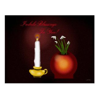 Imbolc Imbolg Kerze und Snowdrops Brid Brighid Postkarte